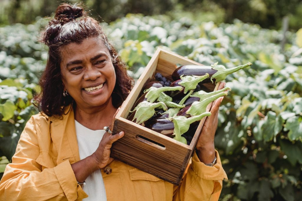woman harvested vegetables